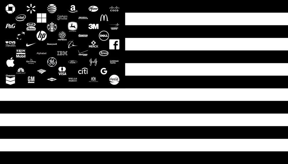 john ros, corporate states of america, 2016 - flag with fifty corporate logos as stars