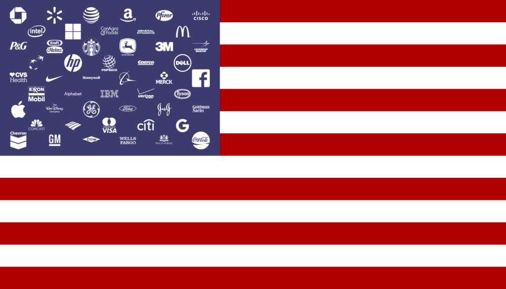 john ros, corporate states of america, 2016 - flag with fifty corporate logos as stars digital image